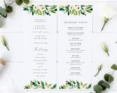 Floral Wedding Program Template, Editable Program, White Roses Floral Program, Greenery Wedding Program Printable, Instant Download,Templett