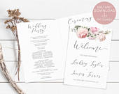 Wedding Program, Printable, Foldable Program Template, Order of Service Editable, Romantic Blush Ivory Floral, Wedding Ceremony Program