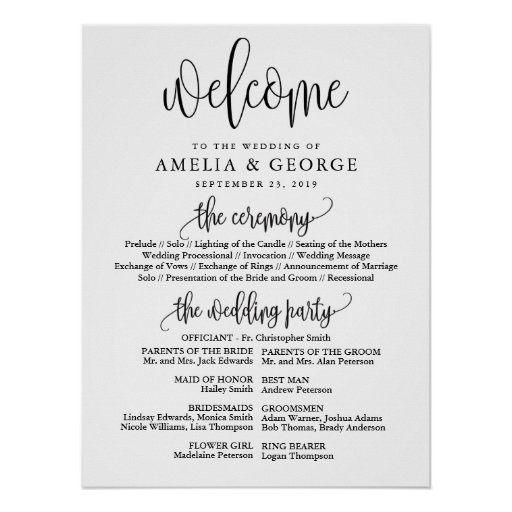 Welcome wedding program sign