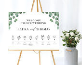 Eucalyptus Wedding Welcome Timeline Sign Template Personalised and Printable Digital Wedding Template PDF