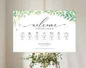 Order of the Day Wedding Sign, Personalised Wedding Sign, Wedding Timeline, Wedding Day Schedule, Wedding Itinerary, Eucalyptus Wedding Sign