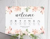 Order of the Day Wedding, Personalised Wedding Sign, Wedding Timeline, Wedding Day Schedule, Wedding Itinerary, Floral Wedding Programme