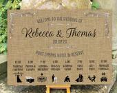 Wedding WELCOME sign ORDER of the Day Hessian (Burlap) design PRINTED on Board, Poster or Digital Timeline with Icons Fast Delivery