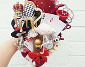 Alice in Wonderland wedding bouquet, Whimsical wedding, alternative bouquet, Cascading bouquet, brooch bouquet, Mad Hatters tea party