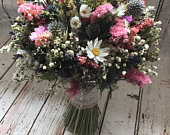 Dried Thistle Wedding Bouquet. Bespoke Natural Flowers for bride, bridesmaid, flowergirl, everlasting wild flowers