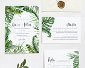 Tropical Wedding Invitation Set Template with Rsvp and Details Card, Beach Wedding, Editable Template, INSTANT DOWNLOAD, Templett, DENISE