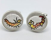 Caterpillar Cufflinks Handmade from Original Roald Dahl Book, Illustration by Quentin Blake Gift for Men Literary Gifts for Husband