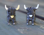 Black Highland Cow cufflinks: Unique Scottish jewellery gift for men, Black cow, Black bull, Black Highland Cow, Scottish cow, Cow cufflinks