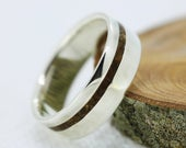 Custom Listing: Hammered finish Fossilized wood (Triassic) inlay Serling Silver wedding ring band