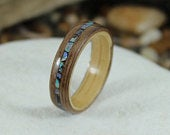 Oak Walnut Wood Ring With Abalone Inlay, Wooden Rings, Wood Rings For Men, Wooden Wedding Rings, Bentwood Rings, Abalone Ring