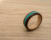 EcoFriendly Walnut Maple Wooden Ring With Turquoise Inlay