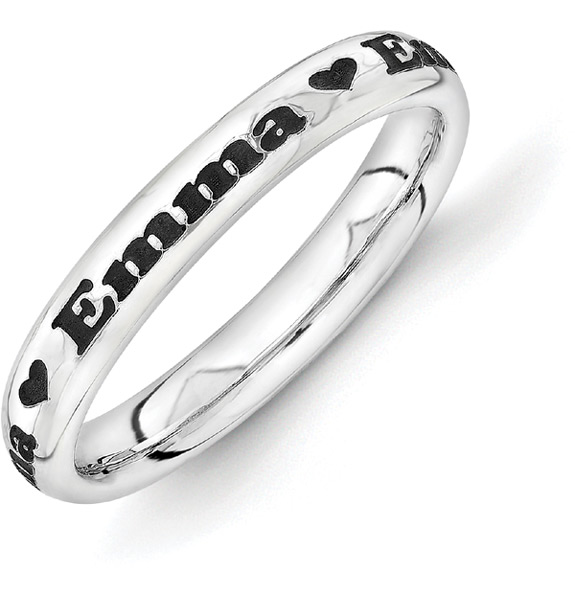 Personalized Black Antiqued Name Ring with Heart in Silver