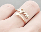 Custom Name Ring Personalise Adjustable Ring Personalise Double Layer Ring Name Ring with Heart Personalised Jewellery for Her