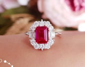 Art deco halo genuine lab grown ruby engagement ring, pigeons blood emerald cut ruby, white gold plated silver, vintage design cluster ring