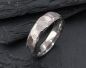 Faceted Stainless Steel Ring 6mm Industrial Rough Hammered Band Ring Geometric Minimalist Mens or Ladies Sizes Handmade in the UK