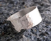 Silver ring 8mm sterling silver band ring hammered band ring 925 hammer finish made in UK