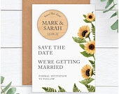 Sunflower Save The Dates PERSONALISED Rustic Wooden Save The Date Fridge Magnet Yellow Sunflower Save The Dates Spring Summer Wedding