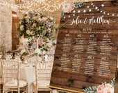 Personalised Wedding table plan, Wedding Seating plan,Welcome Sign, Rustic Wood Look Festoon and Floral, Canvas or Poster Print,Pink floral