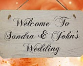 Personalised Wedding Welcome Sign Rustic Wooden Signs White Washed Finish