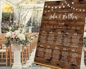 Personalised Wedding table plan, Wedding Seating plan, Welcome Sign,Seating Chart, Framed Canvas or Poster, Rustic Wood Festoon, AMY