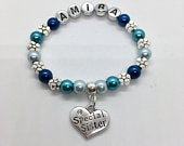 Personalised Special Sister kids girls name CHARM BRACELET inc bag tag 25 colour choice