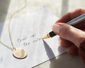 Handwritten Message Necklace engraved with your handwriting 14k gold fill / sterling silver Signature necklace gold pendant necklace
