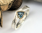 London Blue Topaz gold and silver solitaire ring 9ct gold bezel setting wicker textured wedding ring