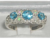 9K English White Gold Natural Blue Topaz Opal Victorian Filigree Trilogy Style Anniversary Ring Made in England Customizable