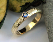 Blue Sapphire yellow gold ring bezel setting wicker textured polished finish MADE TO ORDER
