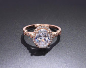 1 Ct /75mm/ Oval Charles and Colvard Moiossanite Natural Diamond Halo Vintage Inspired Engagement Ring, Oval Halo Rings, 7x5mm Oval Cut