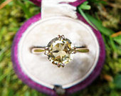 Vintage 9ct Rose Gold Zircon Solitaire Ring, Antique Engagement Ring