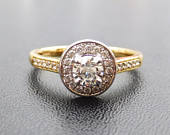 Art Deco, vintage style 18ct white and yellow gold halo engagement ring, vintage style diamond cluster ring, art deco diamond cluster