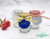 Glitter Favour/Favor Glass Wedding Jars with Names, Customisable Gift (ASSEMBLED VERSION)