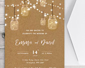 Reception invitation, fairy lights invitation, wedding invitation template, String Lights. Mason Jars. Wedding, rustic wedding card