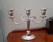 Candelabra, Three Sconce Plated Candle Holder