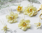 Yellow wedding clips, flower clips, lemon flowers, flower headpiece, flower hairpiece, floral comb, floral clip set, flower pin set