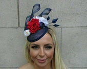 Navy Blue White Red Feather Rose Flower Hat Fascinator Races Wedding Floral 0699