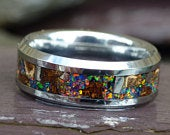 Tyrannosaurus Rex Meteorite Tungsten Ring With Black Opal