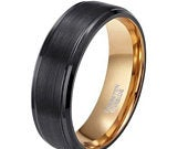 8mm Black Brushed Tungsten Ring with Polished Edges and Gold Lining