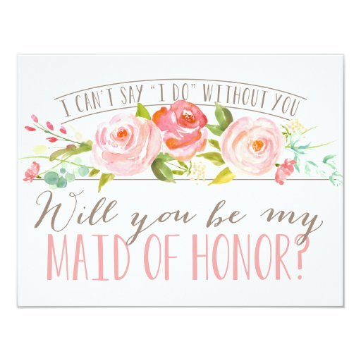 Will You Be My Maid of Honor Bridesmaid Invitation