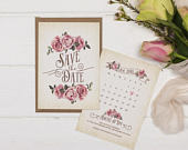 Rustic Save The Date Card A6 Ivory Rustic Rose