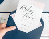 Blush pink wedding invitations, with rose gold and beautiful handwritten, rustic wedding script font