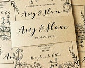 Rustic Vintage Kraft Floral Peony Rose Sketch Wedding Invite Belly Band Bundle