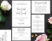 Wedding invitation, White Wedding Invitation, Modern Wedding Invitation