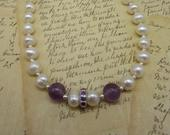 Christmas gift,Pearl and Amethyst necklace,gift for her,pearl wedding necklace,modern pearl necklace.evening wear necklace,gift for mom.