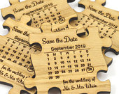 Wedding Save The Date Magnets Wooden Jigsaw Puzzle Piece With Calendar