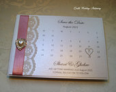 Save the Date Card. Calendar Style. Pearls and Lace card. Change the date card.