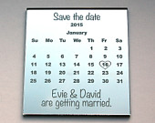 Save the Date magnet calendar style with an engraved mirror finish.