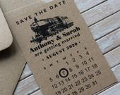 Steam Train Locomotive Railway Personalised Calendar Save the Date Kraft Card or Magnet