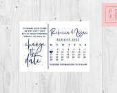 Change Of Plan, Wedding Postponement, Change Of Date, New Date, Save The Date Magnet, Calligraphy Calendar Design, Save The Date Magnets